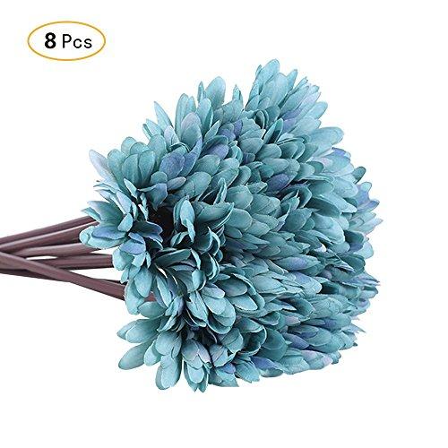 Jia Hu - 8 de flores de gerbera artificiales de seda, para decoración de casa u oficina, azul