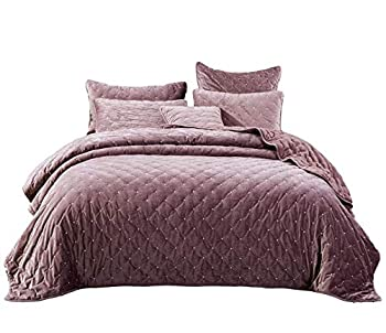 Tache Velvet Dreams Luxurious Velveteen Velour Super Soft Plush Warm Cozy Diamond Tufted Polka Dot Quilted Coverlet Light Purple Mauve Bedspread Set Twin