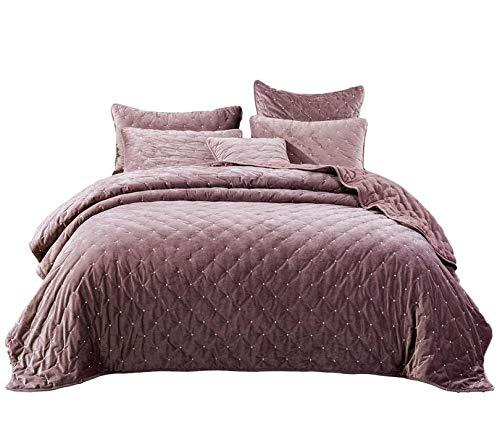 Tache Velvet Dreams Luxurious Velveteen Velour Super Soft Plush Warm Cozy Diamond Tufted Polka Dot Quilted Coverlet Light Purple Mauve Bedspread Set, Queen
