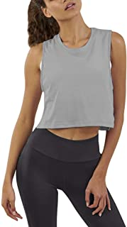 Mippo Women's Mesh Crop Top Sleeveless Racerback Workout Gym Shirt Loose Athletic Tank