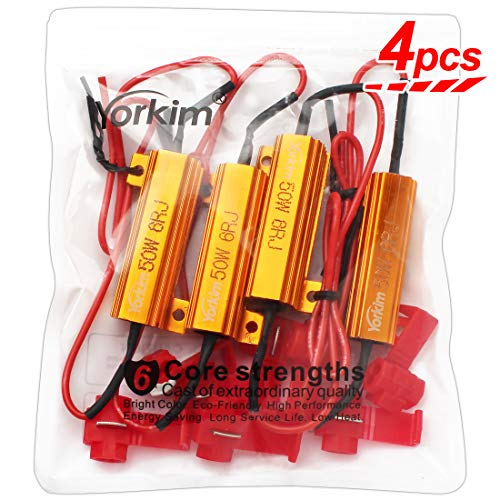 Yorkim 50W 6ohm Load Resistors, LED Resistor for Turn Signal 3157/7443/1157 - Fix LED Bulb Fast Hyper Flash, Turn Signal Blink and Error Message - Pack of 4