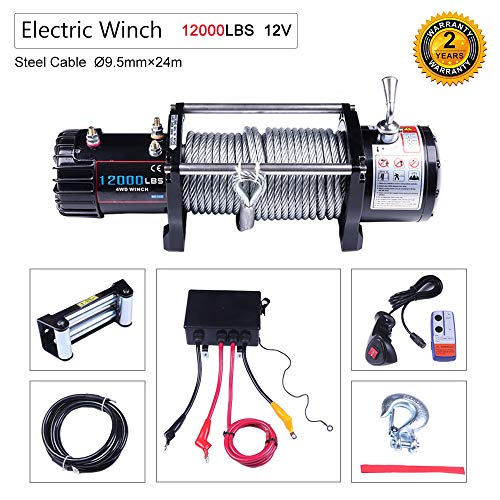 OCPTY Winches Waterproof Offroad 12000 lbs Load 12V Electric Winch with Clevis Hook and Fairlead,Control Box,Set of Bolts,Wireless Remote Control,Hand Remote Control,Negative Wire,Instruction Manual
