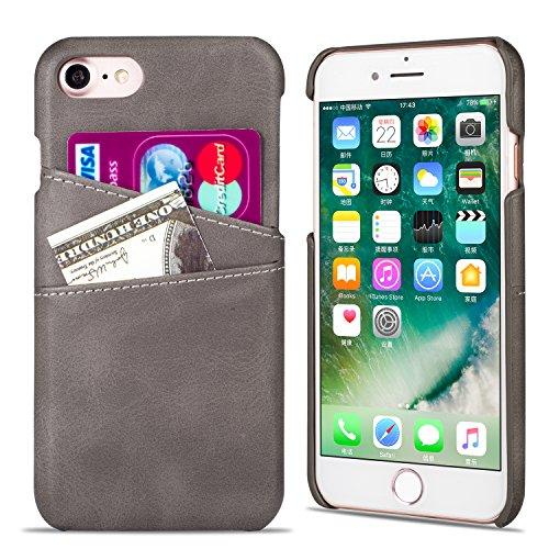 QLTYPRI iPhone 6 6S Hülle, Handyhülle mit Kartenfach PU Ledertasche Hart PC Etui Ultra Dünne Rückschale Stoßfest Schutzhülle für iPhone 6 6S - Grau