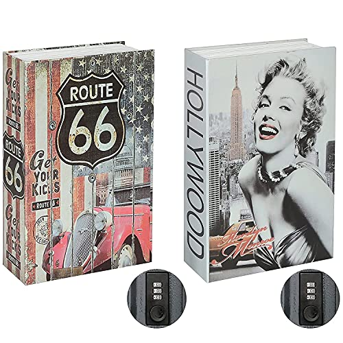 Jssmst Diversion Book Safe with Combination Lock, Secrect Hidden Safe Lock Box for Home Office Code Lock Money Box High Capacity, 9.5 x 6.2 x 2.2 inch, SMBS019 Marilyn Monroe bundle with Route 66