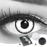 Farbige Kontaktlinsen 1 Paar weisse schwarze Lunatic Vampir mit schwarzem Rand 1 Paar. Topqualität zu Halloween