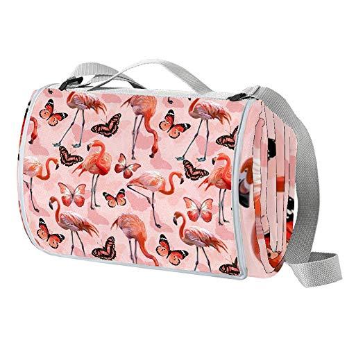 TIZORAX Picknickdecke mit pinken Flamingos und Schmetterlingen, wasserdicht, faltbar, für Strand, Camping, Wandern
