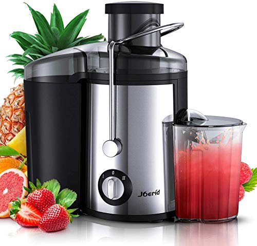 Juicer Machines, [2020 Upgrade] Joerid Centrifugal Juicer, Juice Extractor with Spout Adjustable, Lighter & Powerful, Easy to Clean & BPA-Free, Dishwasher Safe, Included Brush [Black] - 600W