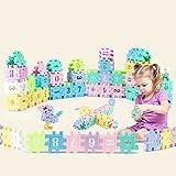 55 Stück Bausteine, Motorikspielzeug Stapelwürfel Bauklötze, Regenbogenfarben Bausteine Bausatz Pädagogischen, Spielzeug für Kinder Kinderspielzeug Puzzle Geschenk Junge Mädchen, Spielzeug Stapelspiel
