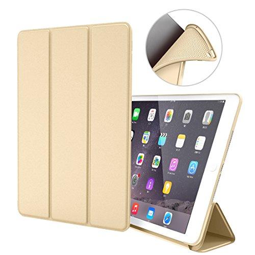 iPad Air 1 Hülle,GOOJODOQ iPad Air 1 PU Leder Etui Hülle Tasche mit Ständer Funktion & Eingebautem Magnet für Einschlaf/Aufwach Shockproof Silikon Weicher TPU Folio Hülle für Apple iPad Air 1(gold)