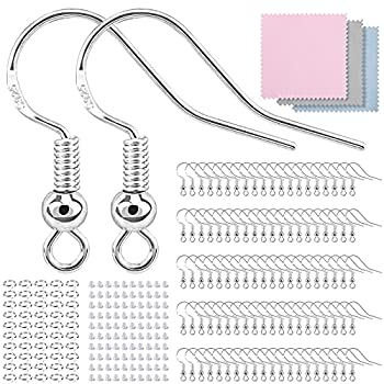 300 PCS/100 Pairs Earring Hooks 925 Sterling Silver Hypoallergenic Earring Hooks for Jewelry Making Upgraded Premium Earring Making kit Earring Making Supplies with Earring Backs and Jump Rings