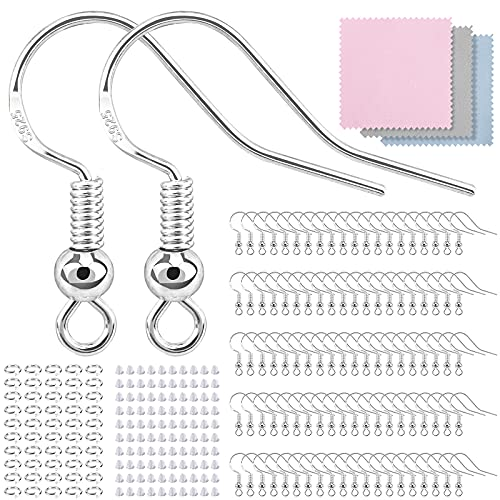 300 PCS/100 Pairs Earring Hooks, 925 Sterling Silver Hypoallergenic Earring Hooks for Jewelry Making, Upgraded Premium Earring Making kit, Earring Making Supplies with Earring Backs and Jump Rings
