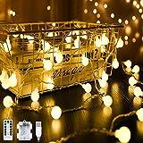 40er LED Kugel Lichterkette Warmweiß 4M 8 Modi Globe Lichterkette Wasserdicht Partylichterkette mit Batteriebetrieben
