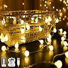 40er LED Kugel Lichterkette, Warmweiß 4M 8 Modi Globe Lichterkette Wasserdicht Partylichterkette mit Batteriebetrieben/USB Stecker Timer Funktion Dimmbar für Weihnachten Garten Hochzeit Balkon Deko