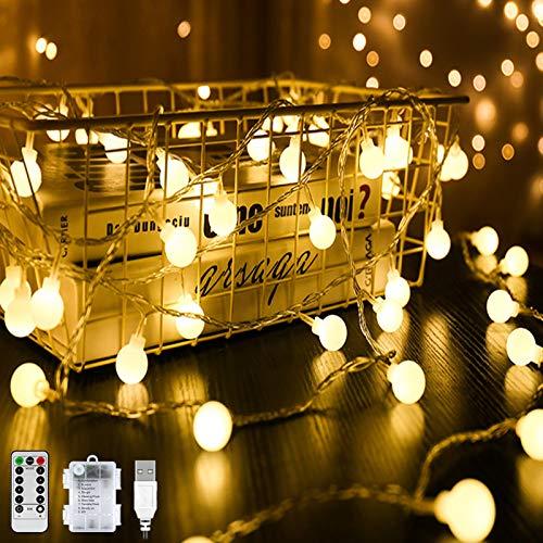 80er LED Kugel Lichterkette Warmweiß 8M 8 Modi Globe Lichterkette Wasserdicht Partylichterkette mit Batteriebetrieben/USB Stecker Timer Funktion Dimmbar für Weihnachten Garten Hochzeit Balkon Deko