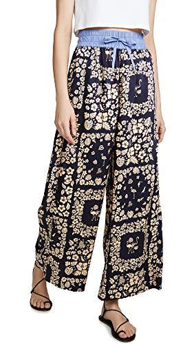 Scotch & Soda Maison Damen Wide leg pants with contrast waistband Shorts, Mehrfarbig (Combo C 0219), 36 (Herstellergröße: S)