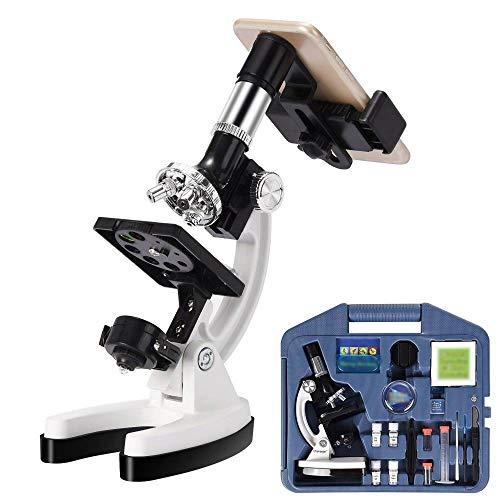 Kindermikroskop100X-1200X Kids Anfänger Biologisches Mikroskop Metallgehäuse Mit TelefonhalteradapterGeeignet Für Familienkinder Zum Lernen