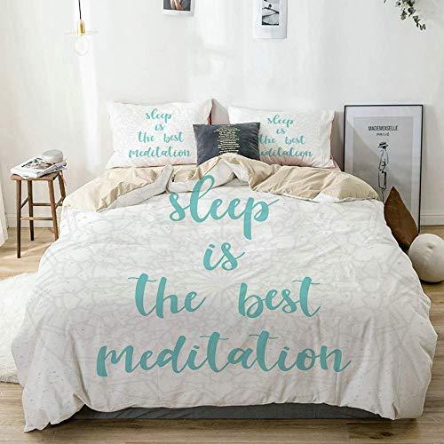 Juego de Funda nórdica Beige, el sueño es la Mejor caligrafía de meditación con un Fondo Suave con Motivos de Mandala, Juego de Cama Decorativo de 3 Piezas con 2 Fundas de Almohada
