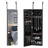 CASARIA Armario 2en1 Joyero y Espejo Negro 31,5x9x110cm Armario Colgante para Puertas Dormitorio baño