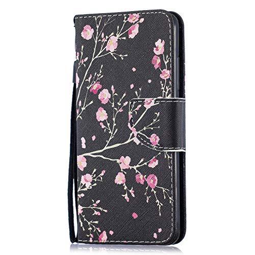 Funluna Hülle für Xiaomi Mi 8 Lite, Lederhülle Stoßfest Klapphülle Brieftasche, Trageschlaufe, Ständer, Kartenfächer, Magnetverschluss Handy Shell für Xiaomi Mi 8 Lite, Pinke Blumen