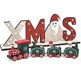 BHGT Mini Tren de Madera + Adornos Navideños Mesa Xmas Decoración Navidad Hogar Mesa Ornamento Navidad Fiesta Regalo Verde