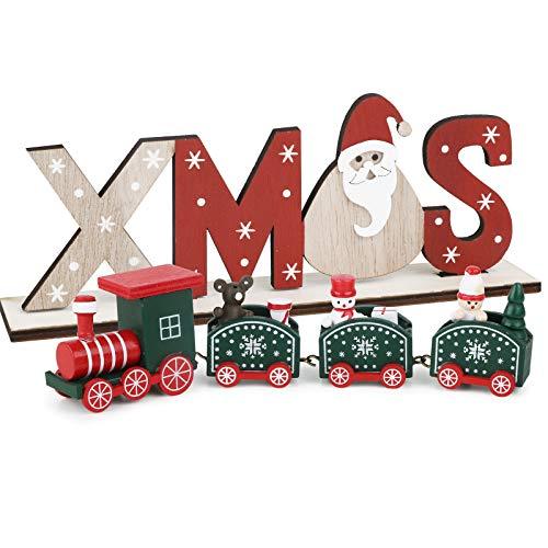 BHGT Mini Trenino in Legno Verde Ornamento Natalizio da Tavolo Xmas Decorazione Natalizia Oggetti Natallizi Addobbi per Natale Casa Regalo Festa
