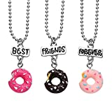 3 Packs Best Friends Forever Kids Children Resin Pendant Necklace (Donut)