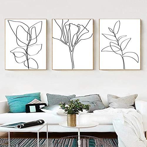 YCCYI Pflanze Skizze druckt Blume Linie Kunst Blätter Poster Schwarz Weiß Leinwand Malerei Botanische Zeichnungen Druck Wandbild Dekor 40x60cm (16x24in) x3 Ungerahmt