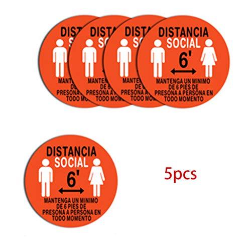YOFO 5 Stück Sicherheits-Symbol für Fußboden, Entfernungsmarkierung, halten Sie einen Klebestift mit 6 Füßen A.