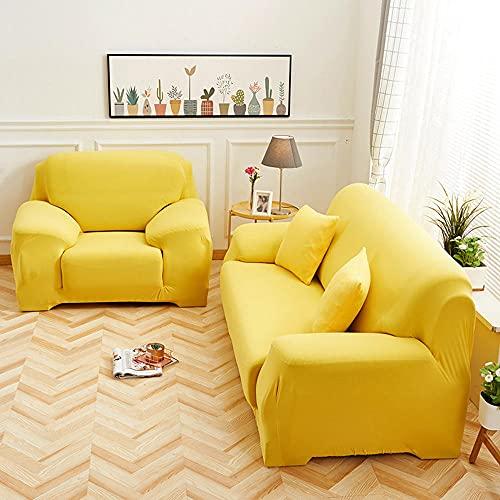Coperchio di divano elasticizzato, copertura da 1 pezzo per 1 2 3 4 cuscino divano sofà Protector di mobili, lavabile Loveseat Slipcover per soggiorno-Giallo_2 posti (145-185 cm /