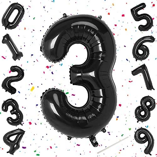 Unisun Globos de números negros, 40 pulgadas, tamaño grande, digital, 3 globos, para cumpleaños, aniversario, fiesta, festival, suministros de decoración (número 3)