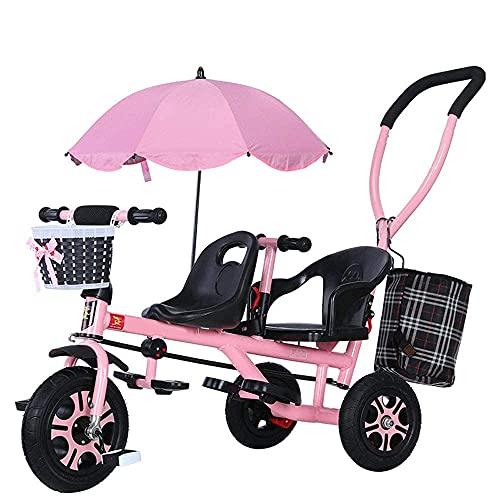 LINZI Trekes Tricicli per Bambini a Mano, Biciclette per Bambini in Tandem, Biciclette, passeggini con ombrelloni, tricicli per Bambini, Bianco (Colore: Rosa)