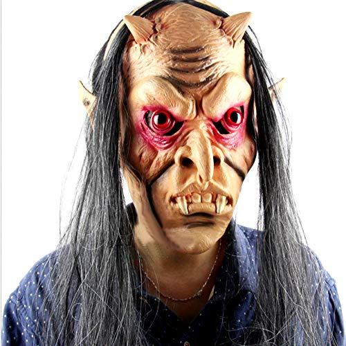 LINMASK Máscara De Látex Máscaras del Horror, Demonio Rojo Largo De Ojos para Halloween Maquillaje Partido Ajusta A La Mayoría Adultos Y Adolescentes Y Un Tamaño