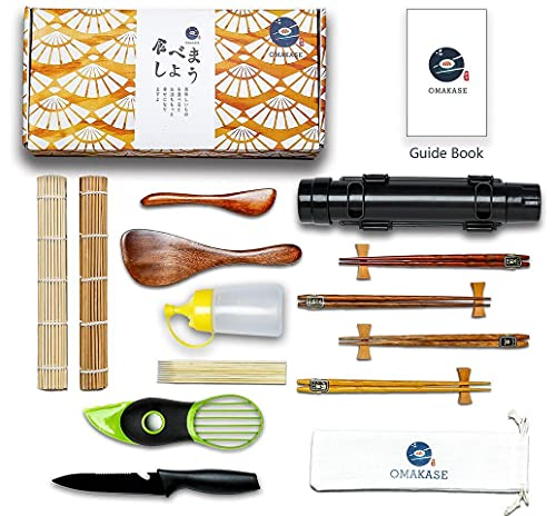 Sushi Making Kit for Beginners - 22-in-1 Sushi Maker Set with Bamboo Sushi Roller Mat - Complete Sushi Rolling Pack With Detailed Recipes