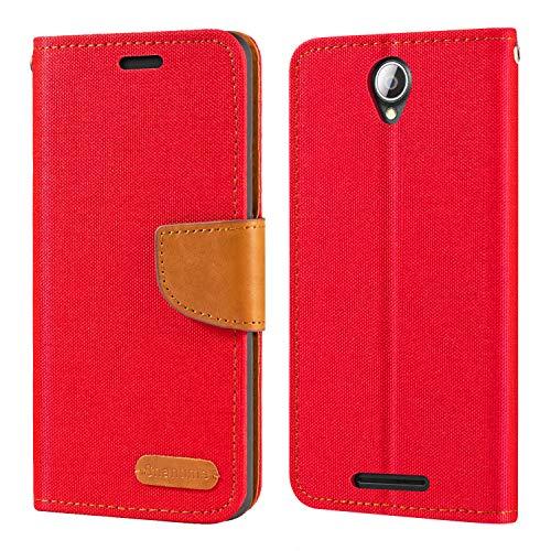 Lenovo A5000 Hülle, Oxford Leder Wallet Hülle mit Soft TPU Back Cover Magnet Flip Hülle für Lenovo A5000