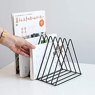 Sooyee Black Magazine Rack Book Record Holder, Desktop Iron Storage Rack Bookshelf Multifunction Triangle File Organizer Decor Home Office