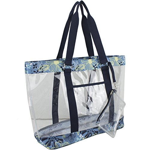 Eastsport Supreme Deluxe 100% Clear PVC Printed Large Tote with Free Large Wristlet, Blue Floral