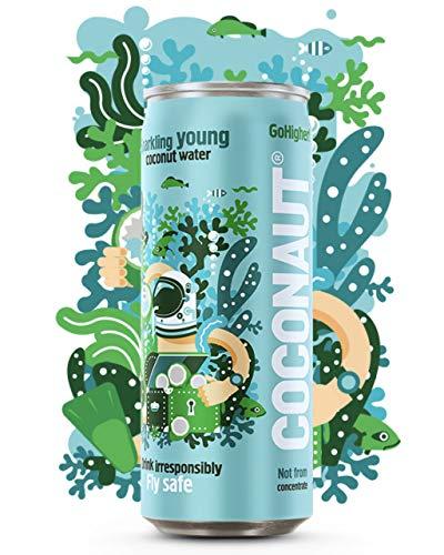COCONAUT Kokoswasser Sparkling (12 x 320ml Dose) Pures Kokosnusswasser mit Kohlensäure - Vegan, Paleo, Erfrischend und Kalorienarm - Ursprung Vietnam - Low Carb Durstlöscher