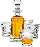 DYB - Set di decanter per whisky, 1 decanter per whisky Iceberg (822,1 g) con 4 bicchieri da whisky Iceberg (283,5 g) per liquore Scotch Bourbon vodka o vino (dimensioni: strisce)