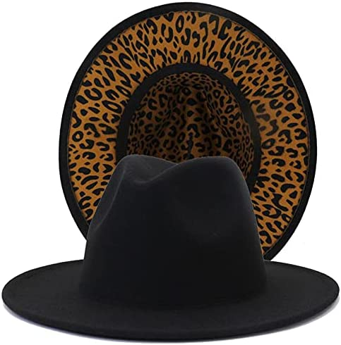 INOGIH Womens Two-Tone Fedora-Hat Wide-Brim Solid Leopard Jazz Fedora Felt