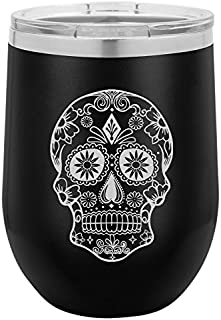 12 oz Double Wall Vacuum Insulated Stainless Steel Stemless Wine Tumbler Glass Coffee Travel Mug With Lid Sugar Candy Skull (Black)