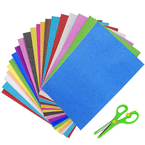 Glitter Cardstock Paper, 20 Sheets Adhesive Glitter Cardstock, Sparkly Sticker Paper for DIY Party Decor 10 Colors, Includes Children Safety Scissors