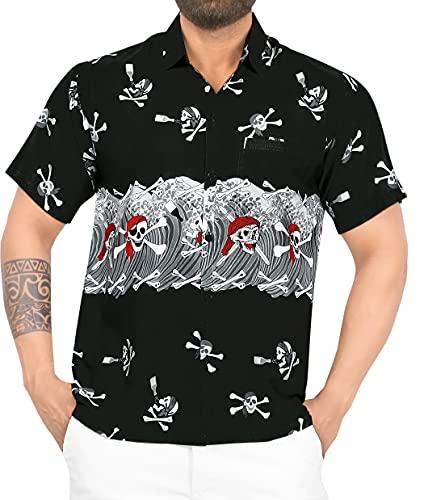 LA LEELA Casual Camisa de Hombre Hawaiana Manga Corta Bolsillo Delantero Playa Vintage Piratas Skeleton Esqueleto Calabaza Skulls Cráneo Cosplay Disfraces De Fiesta De Halloween Costume Negro_W154 L