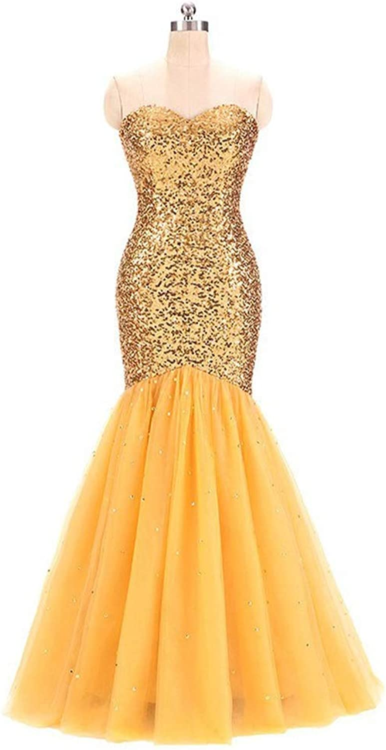 CEFULTY Women's Sexy Lace Bodycon Off The Shoulder Beads Mermaid Long Evening Dress (color   Yellow, Size   US6)