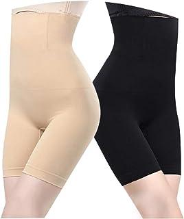 Faja Reductora Ropa Interior Cintura Alta Pantalones Braguita Moldeadora Adelgazante Faja Pantalón para Mujer Body Shaper (2pack for Negro/Beige)