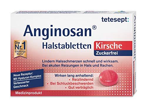 tetesept Anginosan Halstabletten Kirsche - zuckerfrei - Halsschmerztabletten gegen akute Reizungen in Hals und Rachen, (1x 20 Stück)