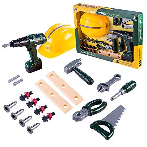 Oeasy Werkzeugkoffer Kinder, 23 Stücke Werkzeugkasten Werkzeug Spielzeug Spielwerkzeugen Rollenspiel Lernspielzeug für Kinder Kleinkind Jungen Mädchen 3 Jahre alt +