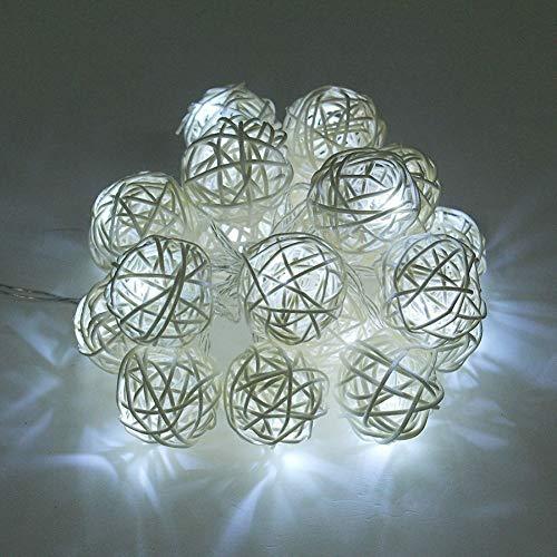 ZHQIC 6V 5M 20 LED Luz de Noche Carga Solar Garland Bola de ratán Lámpara de luz de Hadas Cadena de iluminación Decoración de Boda de Navidad