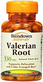 Sundown Naturals Valerian Root 530 mg Herbal Supplement Capsules 100 CP - Buy Packs and SAVE (Pack of 4)