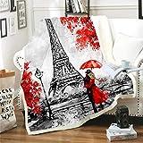 Manta de Tiro de Sherpa con Estampado Pareja, Torre Eiffel Mantas de Franela Súper Suave de Lana Manta de Microfibra Suave cálida y sólida para Cama, sofá y Viaje 150X200CM