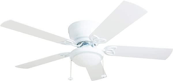 Prominence Home 50852 01 Benton Ceiling Fan Barnwood White Blades LED Globe Light Hugger Low Profile 52 Inches